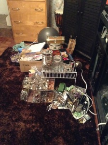 mess from worktable and display rack